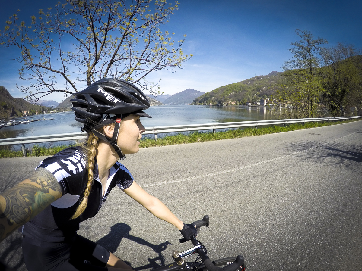 Juliet Elliott cycling in Assos clothing near Lugano 2