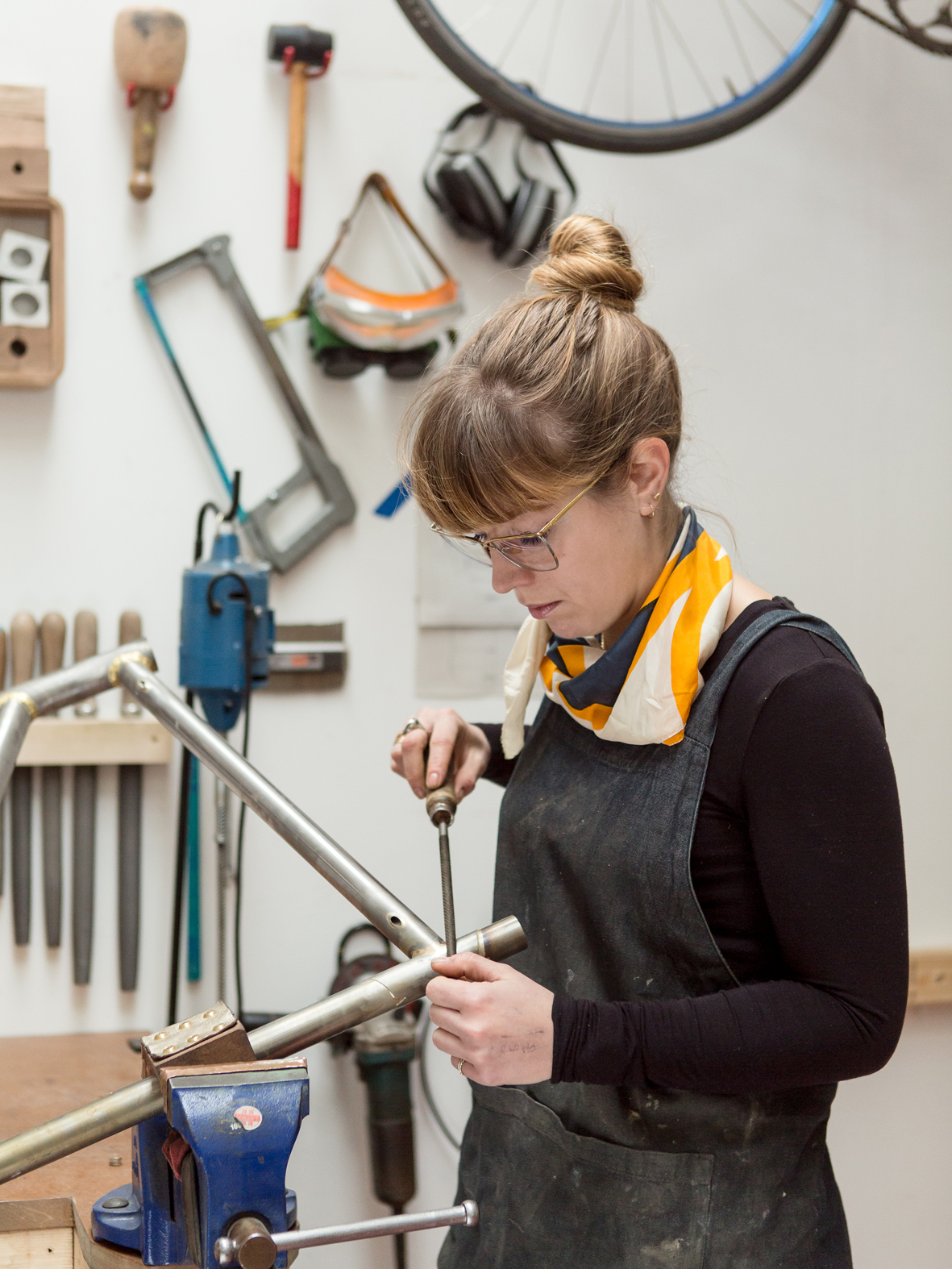 Hartley Cycles Portrait, Caren Hartley female frame builder