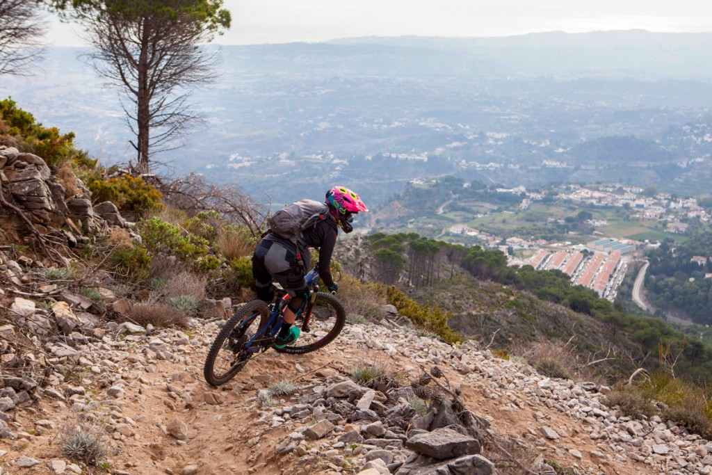 Juliet Elliott riding Enduro MTB mountain biking Malaga, Spain