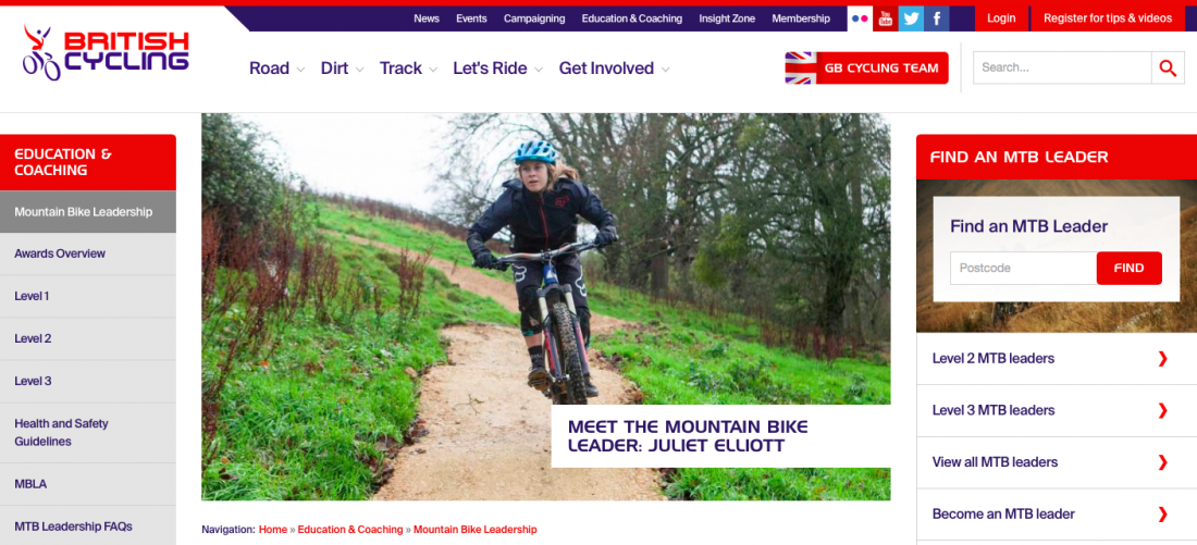 Mountain Bike Leader Profile on British Cycling